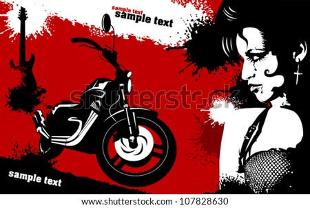 black sport bike on a red background (vector illustration) - stock vector
