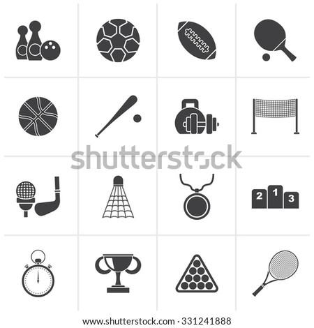Black Sport equipment icons - vector icon set - stock vector