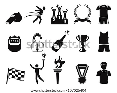 black sports icons set - stock vector