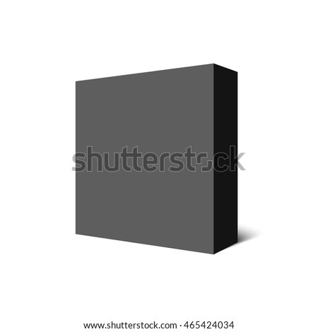 Black square box. 3D. Package. Vector illustration.