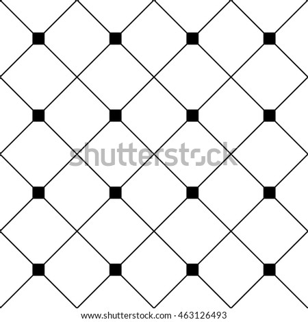 Black Square Diamond Grid White Background. Classic Minimal Pattern Texture Background. Vector Illustration