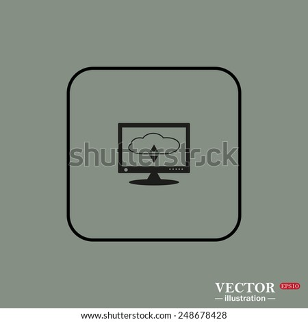 Black square frame on a green background. cloud storage on the computer, vector illustration, EPS 10 - stock vector