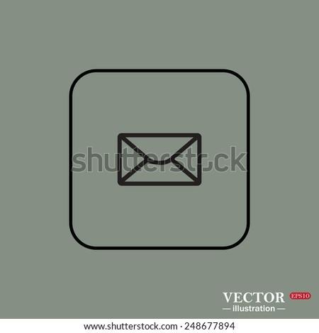 Black square frame on a green background. envelope lette , vector illustration, EPS 10 - stock vector