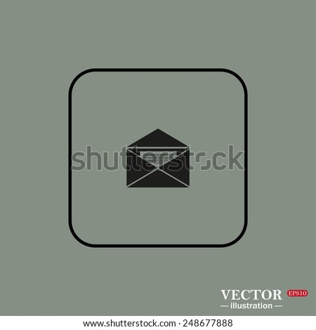 Black square frame on a green background. open envelope with a letter, vector, EPS 10 - stock vector