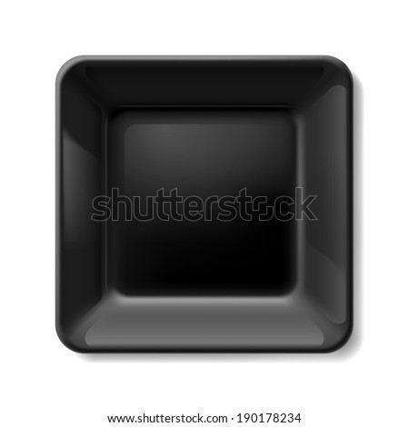 Black square plate isolated on white background
