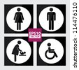 Black Square Toilet Sign with White Circle Background, Man Sign, Women Sign, Baby Changing Sign, Handicap Sign - EPS10 Vector - stock photo