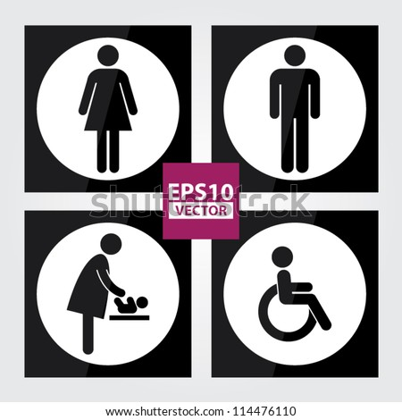 Black Square Toilet Sign with White Circle Background, Man Sign, Women Sign, Baby Changing Sign, Handicap Sign - EPS10 Vector - stock vector