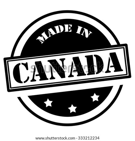 Black stamp with text Made in Canada,vector illustration - stock vector