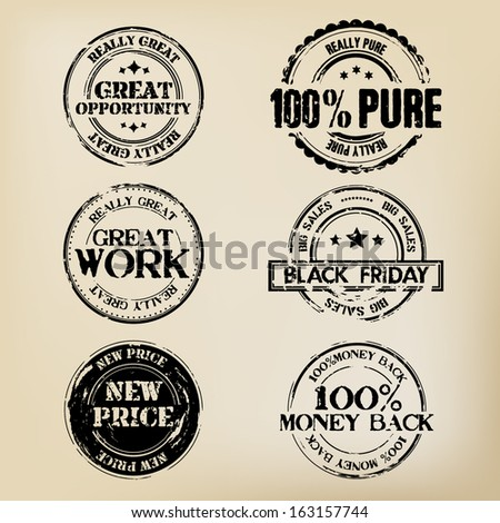 Black Stamps - stock vector