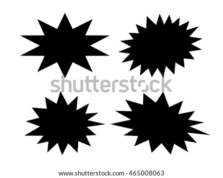 Black star shapes set vector illustration isolated on white background
