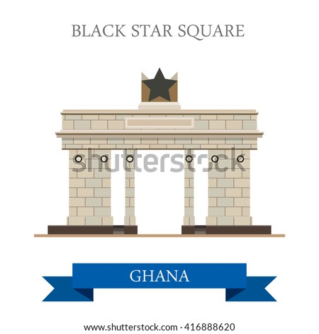 Black Star Square in Accra Ghana. Flat cartoon style historic sight showplace attraction web site vector illustration. World countries cities vacation travel sightseeing Africa collection. - stock vector