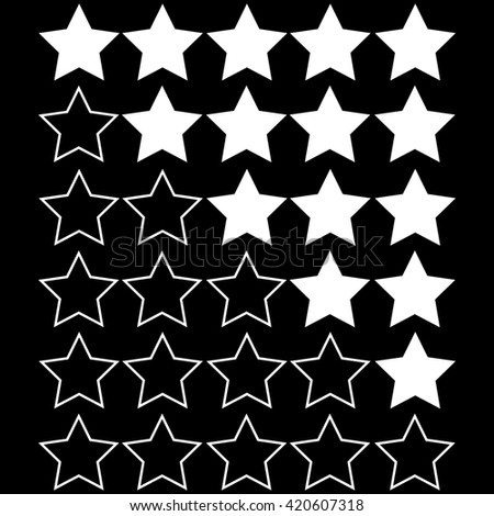 black stars of rating on white stars with black background - stock vector