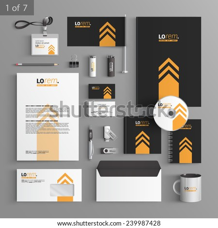 Black stationery template design with yellow arrow. Documentation for business. - stock vector