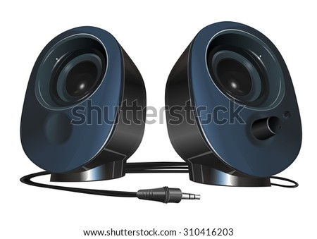 black stereo speakers with plug isolated on white background, off
