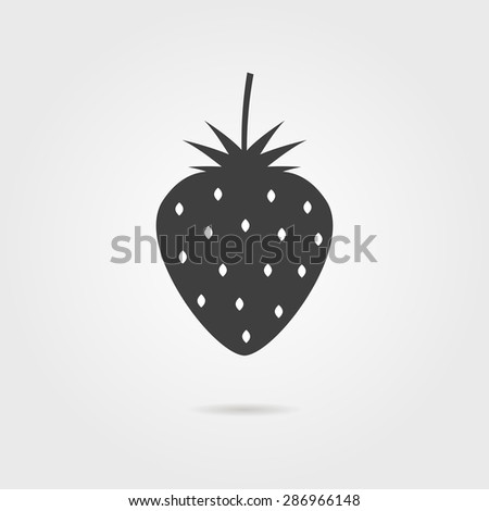 black strawberries icon with shadow. concept of nutritional, agriculture, berries for jam, dietary, wild strawberry. isolated on gray background. flat style modern logotype design vector illustration - stock vector