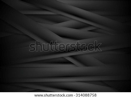 Black striped corporate abstract background. Vector design - stock vector