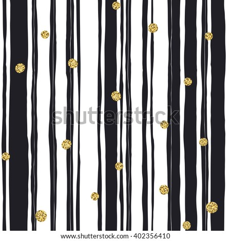 Black stripes seamless pattern and golden dots - stock vector