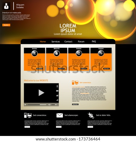 black stylish website template for personal portfolio - perfect layout for photographers, designers and design studio  - stock vector