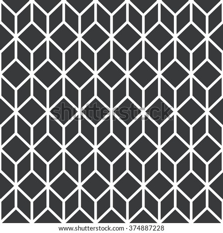 Black stylized cube seamless pattern. Vector flat design.