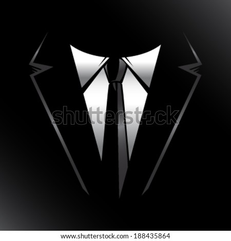 Black suit and tie vector