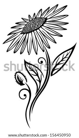 Black sunflower, illustration, vector design element. - stock vector