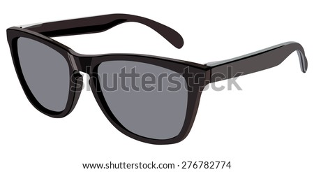 Black sunglasses side view on a white background - stock vector