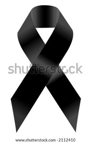 Black Support Ribbon - stock vector
