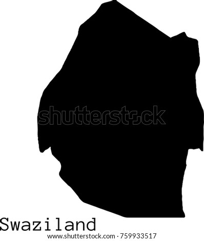 Black Swaziland map vector silhouette