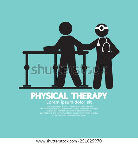 Black Symbol Physical Therapy Vector Illustration - stock vector