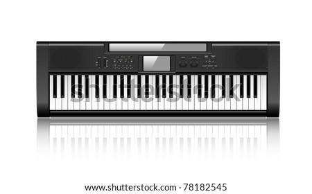 Black synthesizer isolated on white background eps10 - stock vector