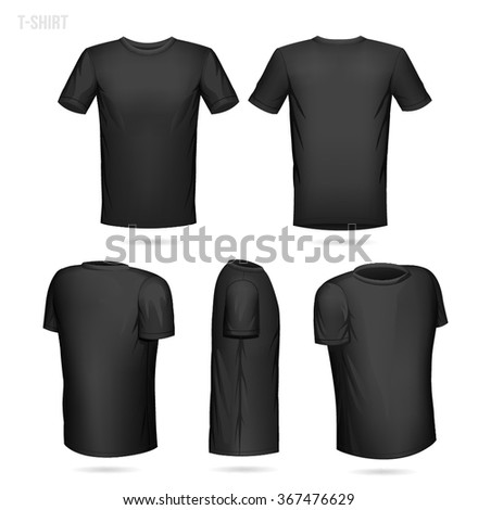 Black Tshirt 5 Sides Front Back Stock Vector 367476629 - Shutterstock