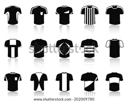 black t-shirt soccer clothing icons set - stock vector