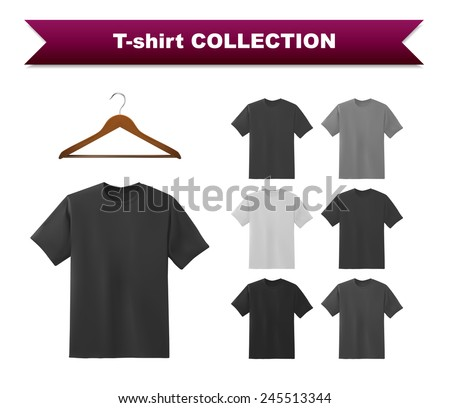 Black t-shirt template with hanger, vector eps10 illustration. - stock vector