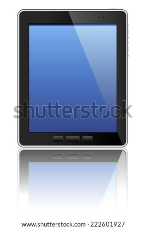 Black Tablet Computer - Vector illustration of a tablet computer with reflection. All colors are global, so colors and gradients can be edited easily.