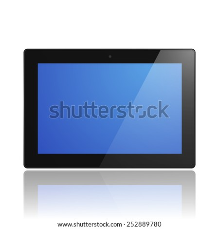 Black Tablet Computer with blue screen and reflection. Illustration Similar To iPad. - stock vector