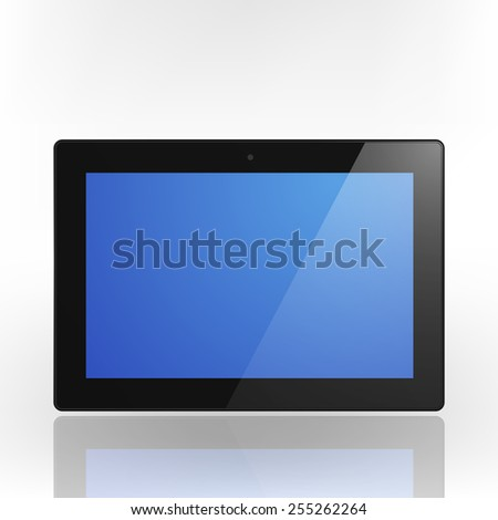 Black Tablet Computer with blue screen and reflection. Illustration Similar To iPad.