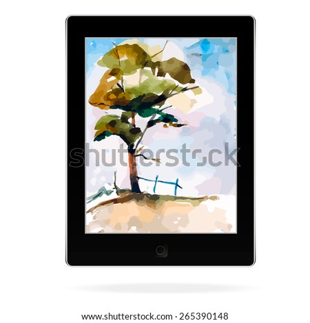 Black tablet computer with painting picture - stock vector