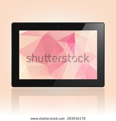 Black Tablet Computer with triangle background and reflection.  Illustration Similar To iPad . - stock vector
