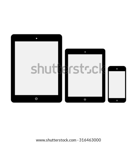 Black Tablet Computers and Phone Vector Illustration - stock vector