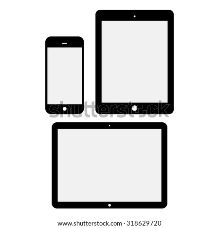 Black Tablet Computers and Phone Vector Illustration isolated on white background. - stock vector