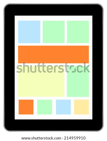 Black Tablet Device In iPad Style With Live Tiles On Isolated White Background - stock vector