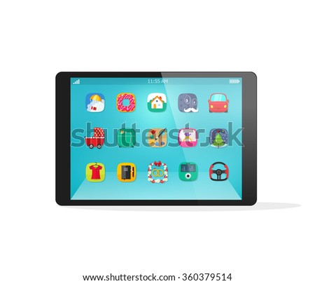 Black tablet device vector mockup template with app icons on touch screen in flat style, modern interface, smart technology, realistic illustration design isolated on white background - stock vector