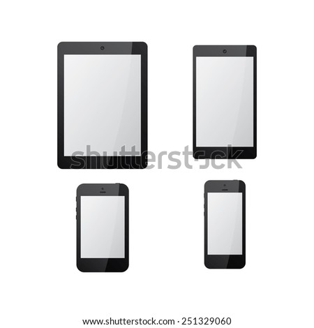 Set Electronics Icons Black Tablets Samsung Stock Vector ...
