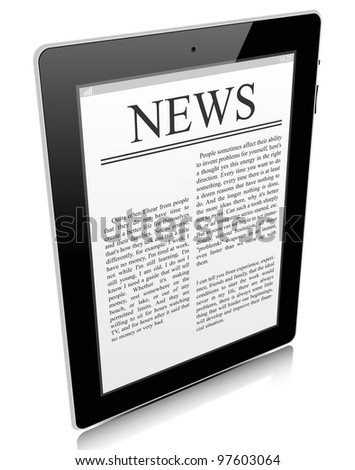 Black tablet pc isolated on white background