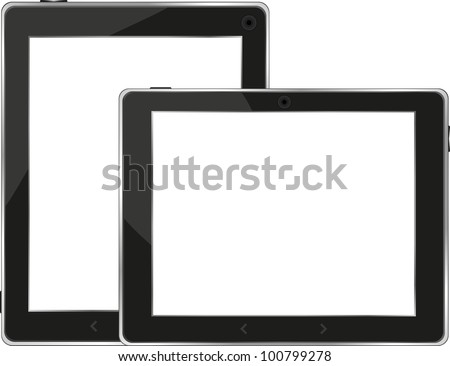 Black tablet pc set on white background