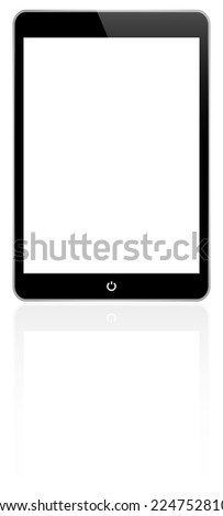 Black Tablet With Reflection Similar To iPad On White - stock vector