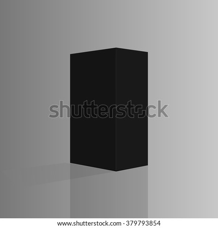 Black tall box. Ready for your design. Box perspective. Box empty blank. Box software. Vector illustration, eps 10