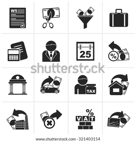 Black Taxes, business and finance icons - vector icon set - stock vector