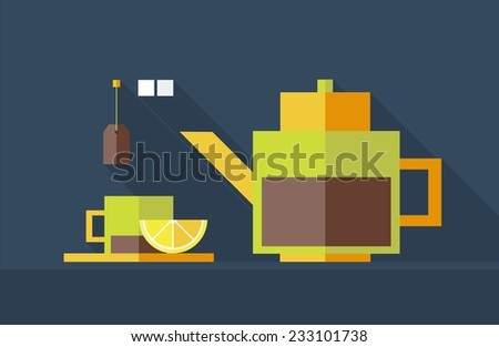 Black tea. Kettle and cup. Flat design. Vector illustration. - stock vector