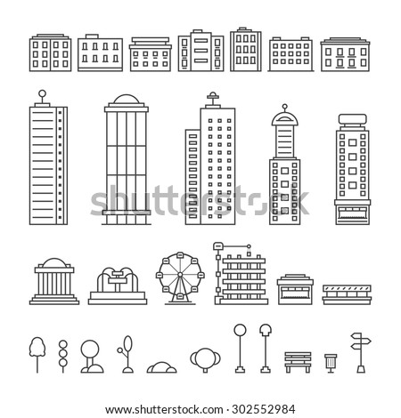 black thin line city elements. concept of downtown, center, central park, office, metropolis, residential, life. isolated on white background. flat style trend modern logo design vector illustration - stock vector